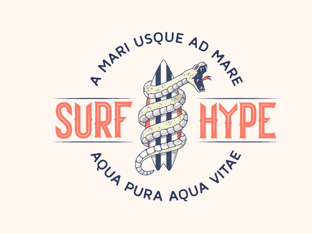 Surf Hype it's a vector illustration about the addictive passion for surfing