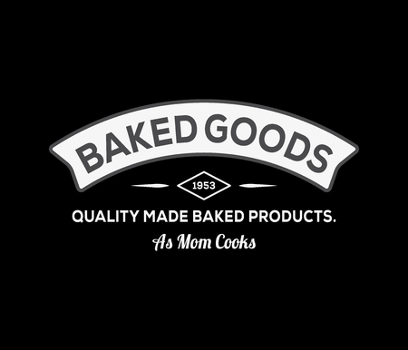 Bakery goods quality made white on black is a vector illustration about food