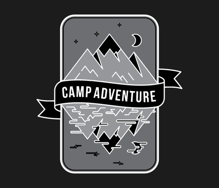 Outdoor camp adventure white on black is a vector illustration about fun and exploration