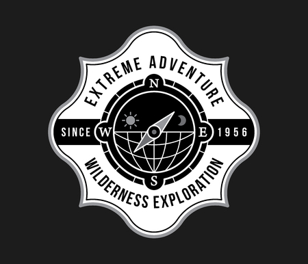 Outdoor extreme adventure white on black is a vector illustration about exploring the unknown