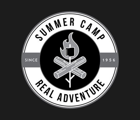 Outdoor summer camp adventure white on black is a vector illustration about real exploration Çizim