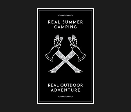 Outdoor summer camp white on black is a vector illustration about adventure and exploration Stock Vector - 111356825