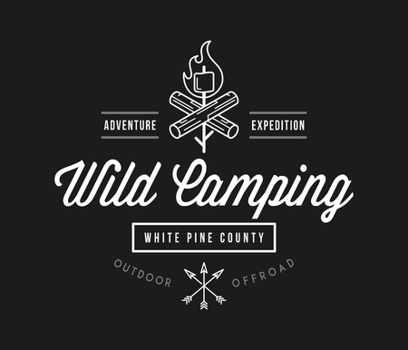 Outdoor wild camping white pine county white on black is a vector illustration about wilderness exploration Stock Vector - 111825660