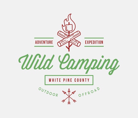 Outdoor wild camping white pine county is a vector illustration about wilderness exploration Illustration