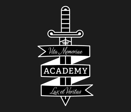 Academy lux et veritas white on black is a vector illustration about studying and learning