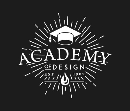 Academy of Design white on black is a vector illustration about studying and learning