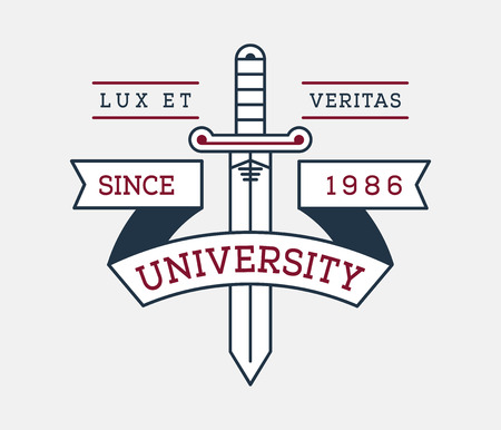 Lux et veritas university badge is a vector illustration about studying and learning