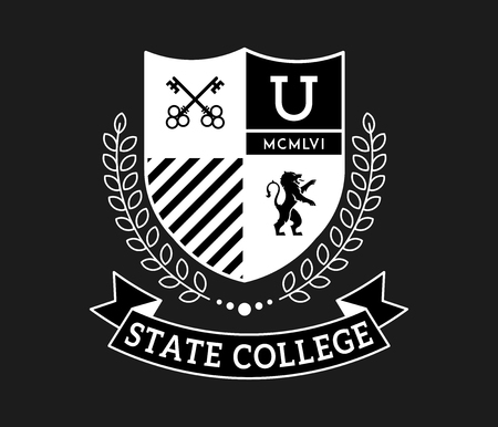 State college keys to knowledge white on black is a vector illustration about studying and learning
