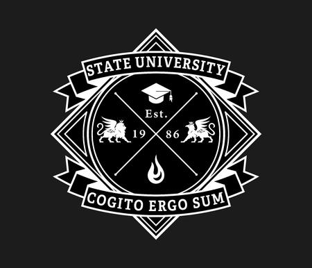 Université d'État cogito ergo sum blanc sur noir est une illustration vectorielle sur l'étude et l'apprentissage