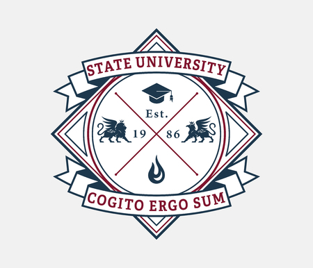 State university cogito ergo sum is a vector illustration about studying and learning