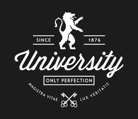 University of perfection white on black is a vector illustration about studying and learning