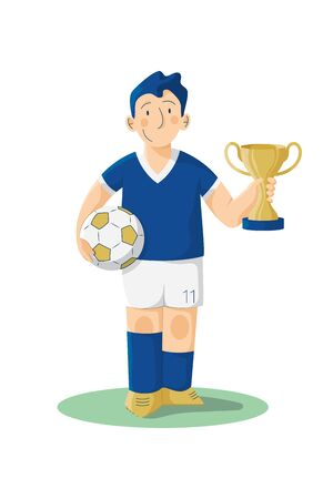 Littel soccer player with cup vector illustration