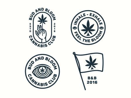Sativa badge set vector illustration colored version