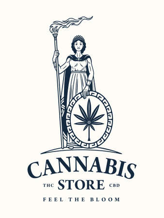 Queen of cannabis vector illustration as a dispensary store symbol
