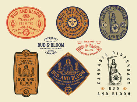 Bud and Bloom vector colored cannabis badges 矢量图像