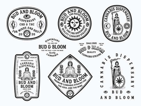 Bud and Bloom black vector cannabis badges on a white background