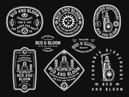 Bud and Bloom white vector cannabis badges on a black background 矢量图像