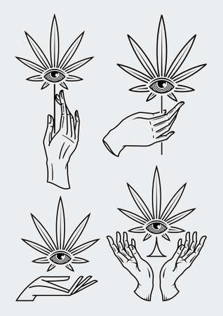Collection of vector hands holding cannabis leafs that contain an eye at the center of it.
