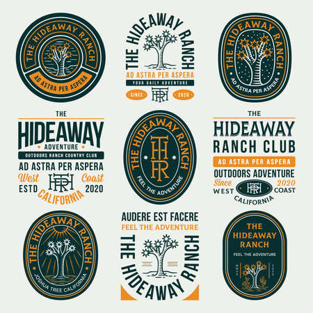 Colored hideaway ranch adventure vector badges