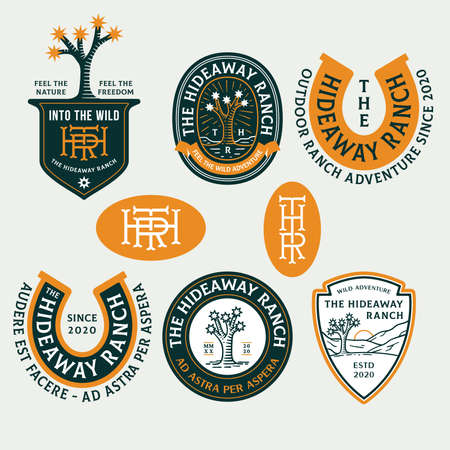 Colored desert ranch adventure vector badges