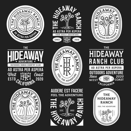 White hideaway ranch adventure vector badges on a black background