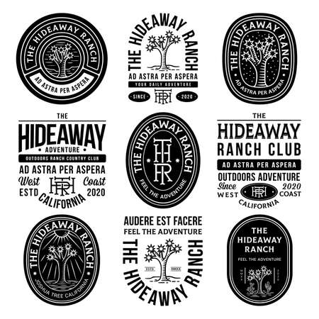 Black hideaway ranch adventure vector badges on a white background Illusztráció