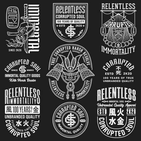 Vol. number 2 white on black vector illustration named Relentless Immortality. The illustrations contain four japanese kanji that mean water, fire, earth and metal.