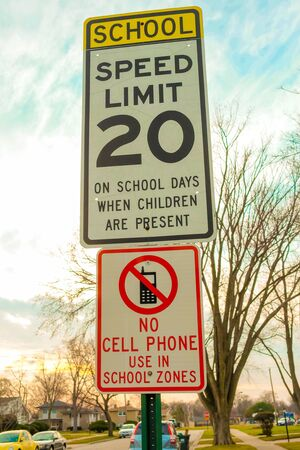 United states speed limit sign 20 with No Cell Phones in this area