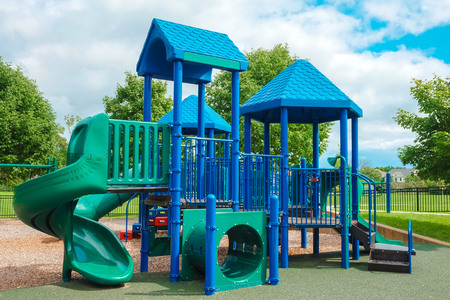 abandon: Happy Child Children Childhood kid colorful playground fun playground for leisure and recreation activity with toy, children stairs slides equipment leftover and climb empty child happy nobody season ladder nature ground outdoor on yard in the park in chi