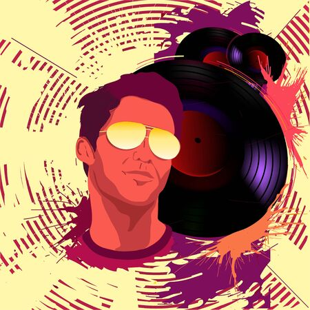 Man with vinyl records Illustration