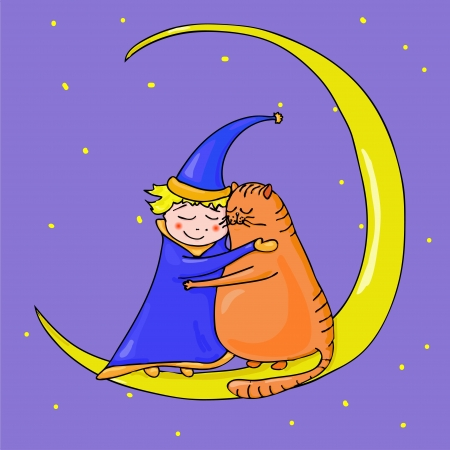 Cat and boy on the moon Illustration