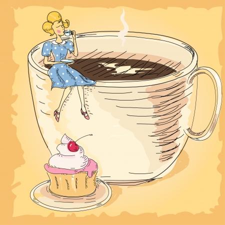 cup cakes: mujer con una taza de caf� Vectores