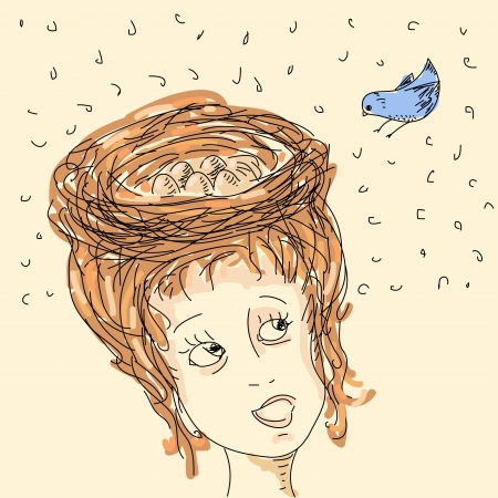 animal nest: Woman with hair nest Illustration
