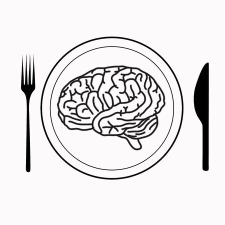plate of food: brain on the plate with fork and knife Illustration