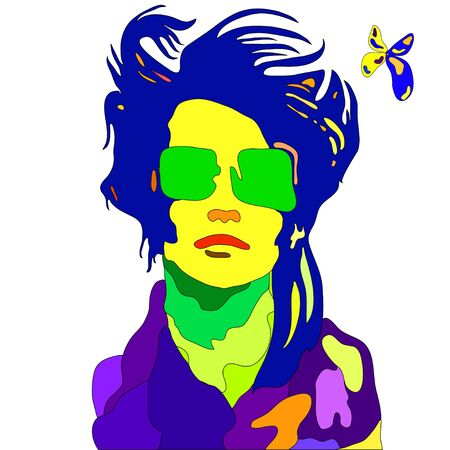 Pop - art colored portrait of young fashion woman