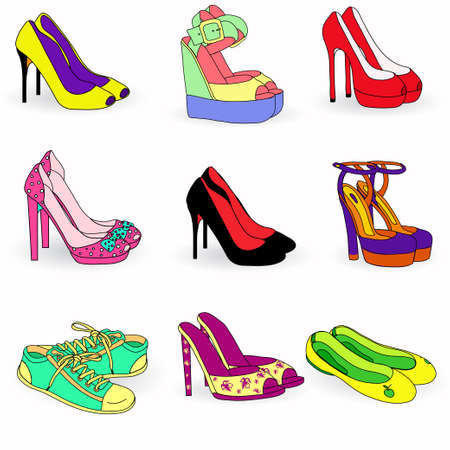 Collection of color  fashion woman shoes Stock Vector - 19139542