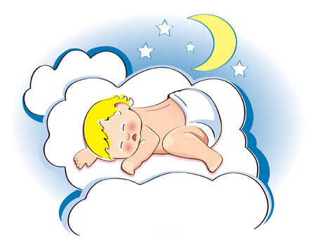 sleeps: a baby sleeps on a cloud Illustration