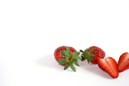 crosscut: Strawberries in white background