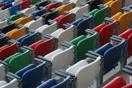 closed club: Rows of benches in a stadium Stock Photo