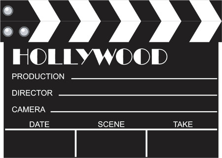 people clapping: movie clapboard Illustration