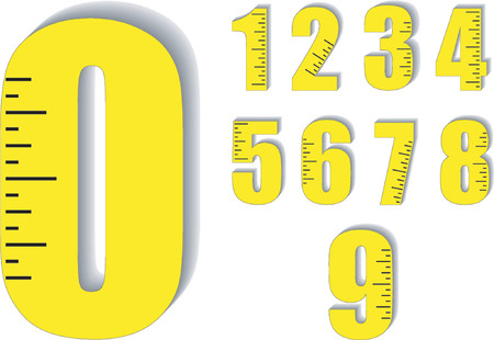 3 4 length: Numbers with measuring scale
