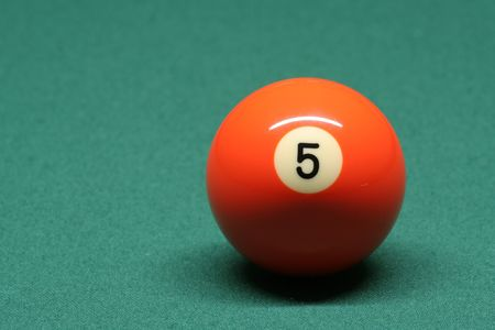 pool ball: Pool ball number 05 in pool table Stock Photo