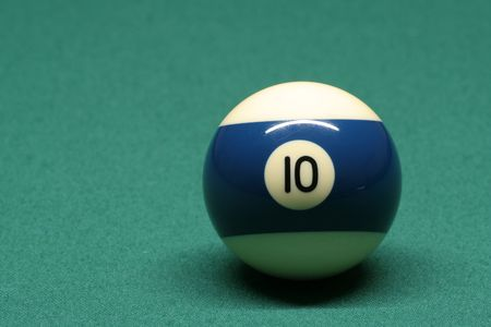 pool ball: Pool ball number 10 in pool table Stock Photo