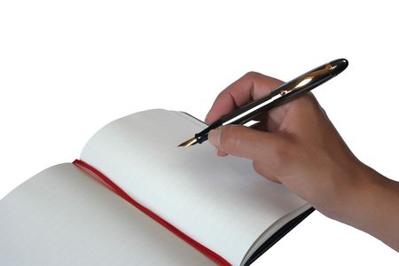Hand writing in a notebook on white background Stock Photo - 471882