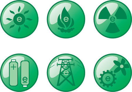 energize: Vectorial glass buttons with different kind of energy