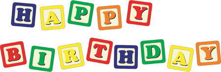 Toy cubes Happy Birthday Vector