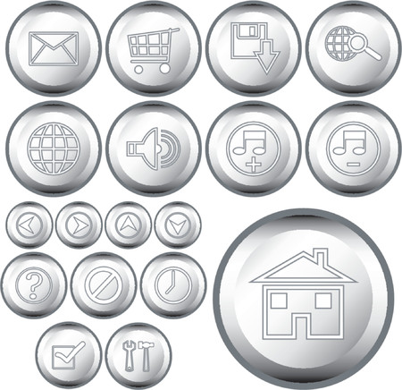 unchecked: Vectorial metallic buttons with different kind of web symbols Illustration