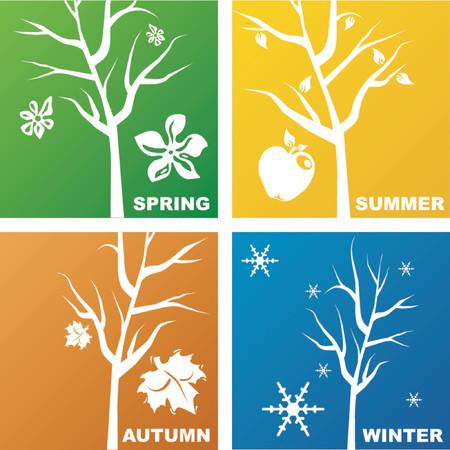 quatre saisons: Repr�sentation des quatre saisons Illustration