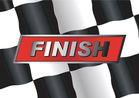 gti: Checkered flag with FINISH badge on it Illustration