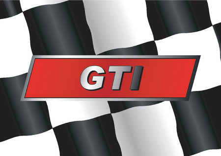 Checkered flag with GTI badge on it Stock Vector - 507273